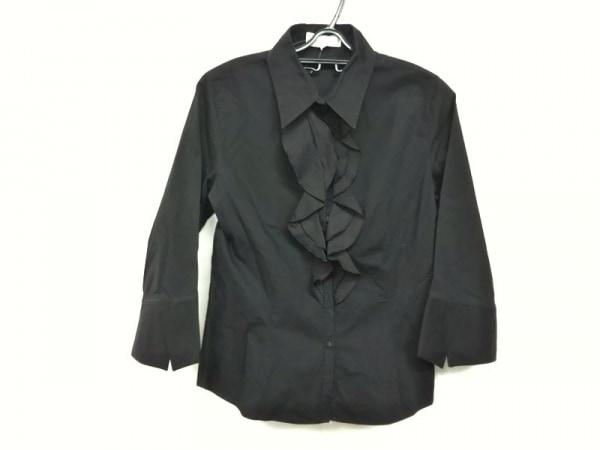 アンフォンティーヌ 長袖シャツブラウス サイズ2 M レディース美品  黒 フリル