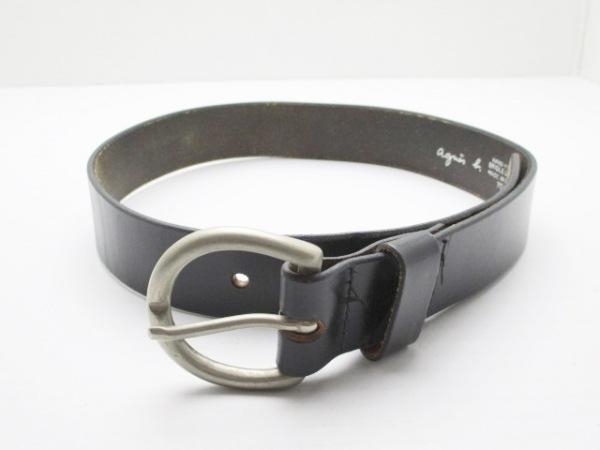 agnes b(アニエスベー) ベルト 70 黒×シルバー レザー×金属素材