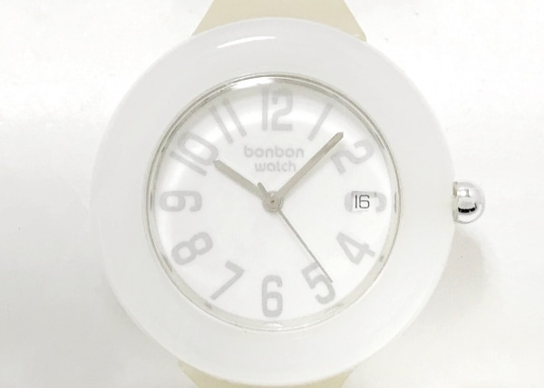 BONBONWATCH(ボンボンウォッチ) 腕時計 - レディース ラバーベルト/裏スケ 白