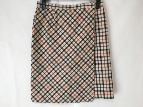 DAKS(ダックス) 巻きスカート サイズL レディース美品  ベージュ×マルチ チェック柄