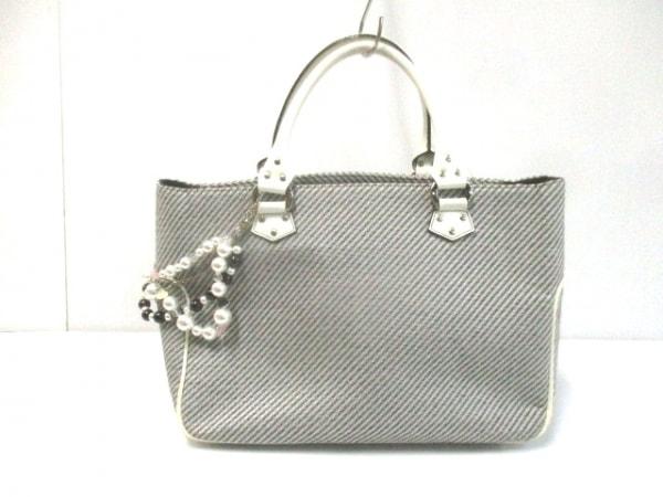 サマンサタバサニューヨーク ハンドバッグ 黒×白 フェイクパール/ラメ