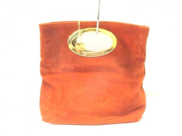 ローラディマジオ ハンドバッグ ブラウン×ゴールド スエード×金属素材