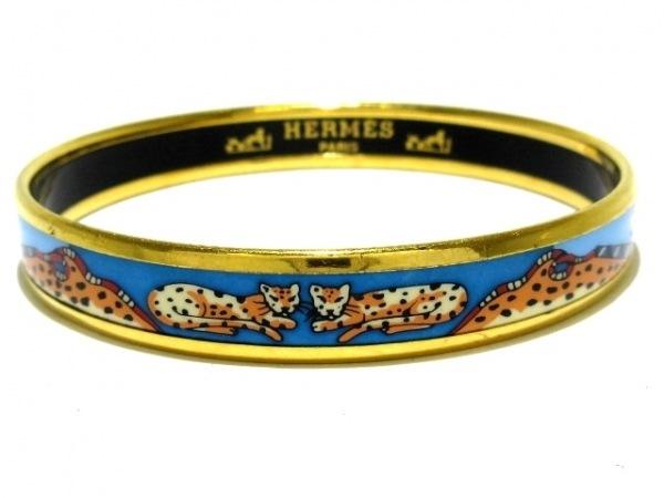 HERMES(エルメス) バングル エマイユ 金属素材 ゴールド×ブルー×マルチ 豹柄