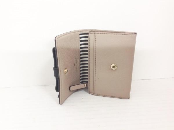 ケイトスペード カードケース PWRU4040 グレーベージュ×黒 リボン/キーリング付き