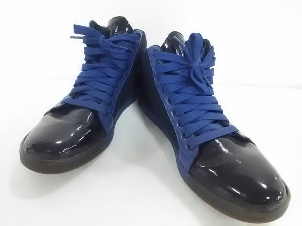 EMPORIOARMANI(エンポリオアルマーニ) スニーカー メンズ美品  黒×ブルー ×Reebok
