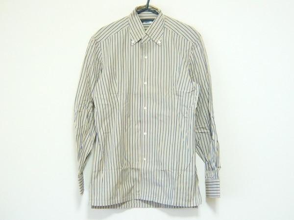 BARBA(バルバ) 長袖シャツ サイズ40 M メンズ ベージュ×グレー×白 ストライプ