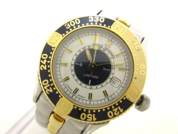 レビュートーメン 腕時計美品  ランドマーク 2817001 レディース 白×ダークネイビー