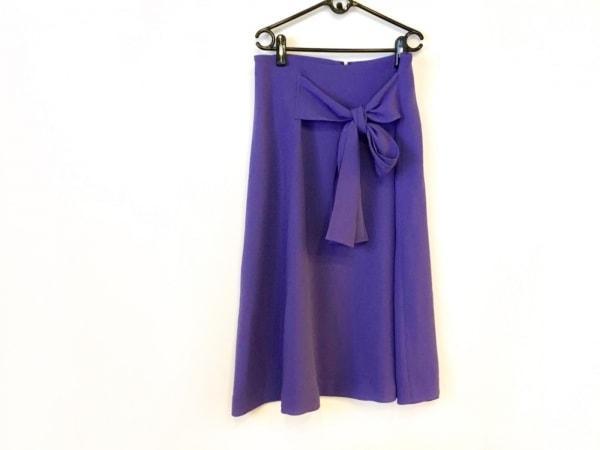 グーコミューン ロングスカート サイズ38 M レディース美品  パープル リボン
