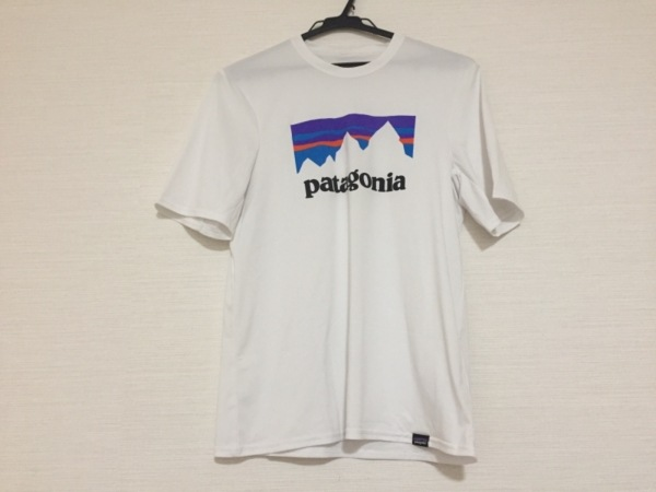 パタゴニア 半袖Tシャツ サイズXS レディース 白×パープル×ブルー×マルチ