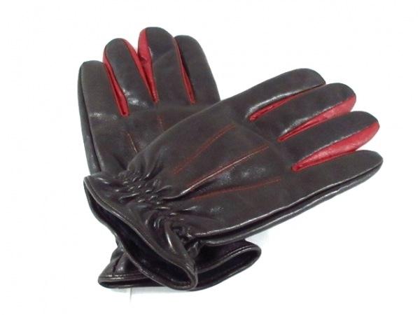 R.Newbold(アールニューボールド) 手袋 レディース美品  黒×ボルドー レザー