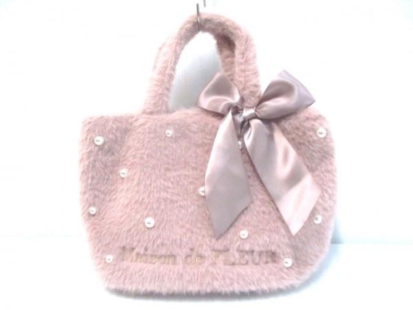 メゾンドフルール トートバッグ美品  ピンク リボン/フェイクパール ポリエステル