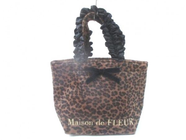 メゾンドフルール トートバッグ美品  ブラウン×黒 フリル/豹柄 ポリエステル