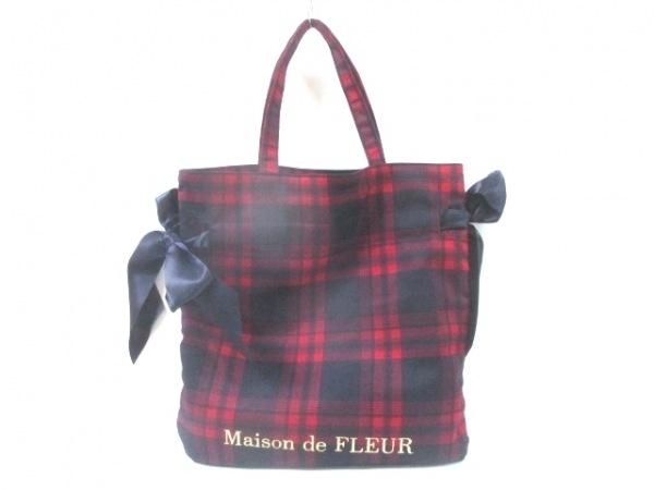 Maison de FLEUR(メゾンドフルール) トートバッグ美品  レッド×黒 チェック柄