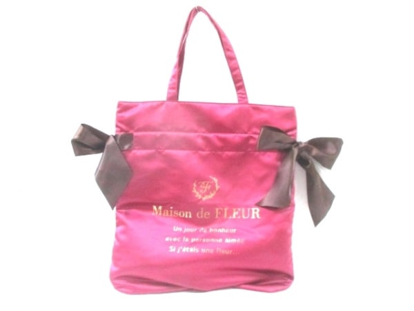 メゾンドフルール トートバッグ美品  ピンク×ダークブラウン ポリエステル