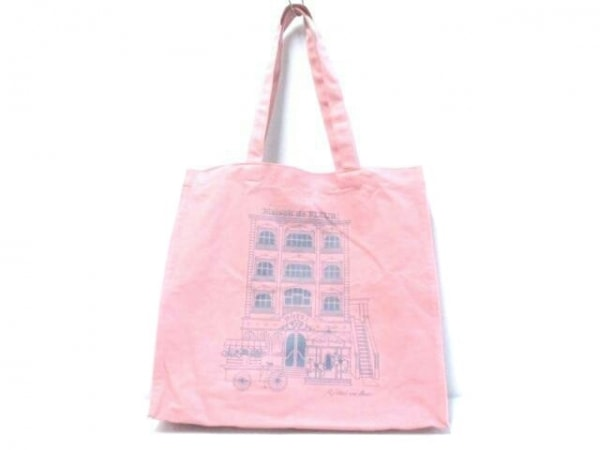 Maison de FLEUR(メゾンドフルール) トートバッグ ピンク×ブルー コットン