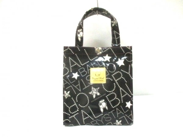 クリスタルボール ハンドバッグ 黒×アイボリー スター コーティングキャンバス
