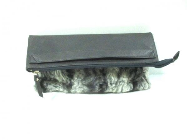 LAZY SUSAN(レイジースーザン) クラッチバッグ 白×グレー×黒 フェイクファー×合皮