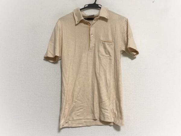 Letroyes(ルトロワ) 半袖ポロシャツ サイズL メンズ美品  ベージュ×白 ボーダー