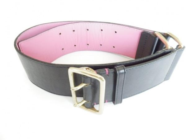 PaulSmith(ポールスミス) ベルト 黒×ゴールド レザー×金属素材