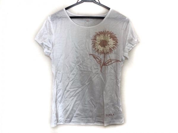 FURLA(フルラ) 半袖Tシャツ サイズM レディース美品  白×ベージュ×アイボリー