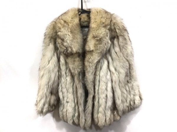 サガフォックス コート サイズ13 L レディース アイボリー×ダークブラウン 冬物