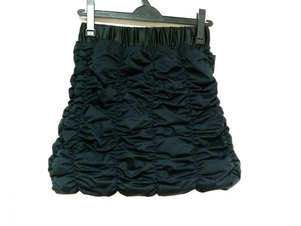ヨソオウ ミニスカート サイズ2 M レディース美品  ネイビー×黒 シャーリング