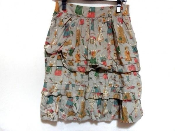 Jane Marple(ジェーンマープル) ミニスカート サイズM レディース グレー×マルチ