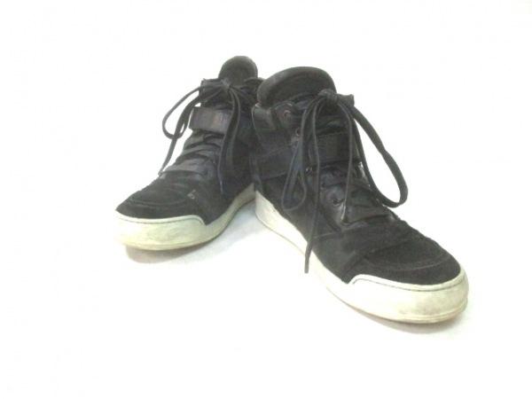 BALMAIN(バルマン) スニーカー 40 メンズ 黒 ハイカット ハラコ×レザー