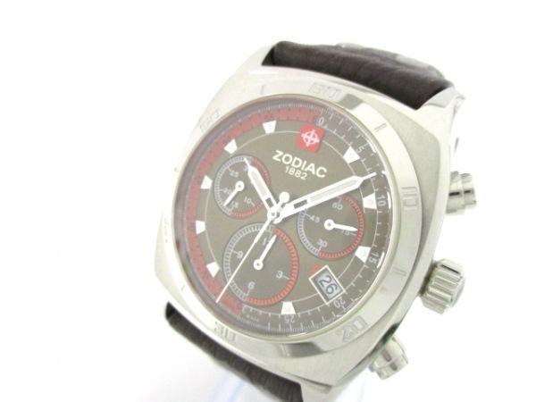 ZODIAC(ゾディアック) 腕時計 ZO7009 メンズ クロノグラフ/革ベルト カーキ