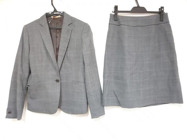 ライム スカートスーツ サイズ9 M レディース美品  グレー×黒×パープル チェック柄