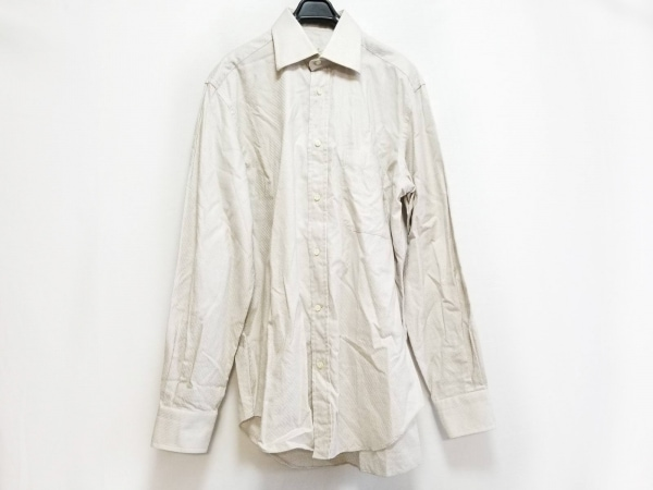 ErmenegildoZegna(ゼニア) 長袖シャツ サイズ40 M メンズ ベージュ 斜めストライプ