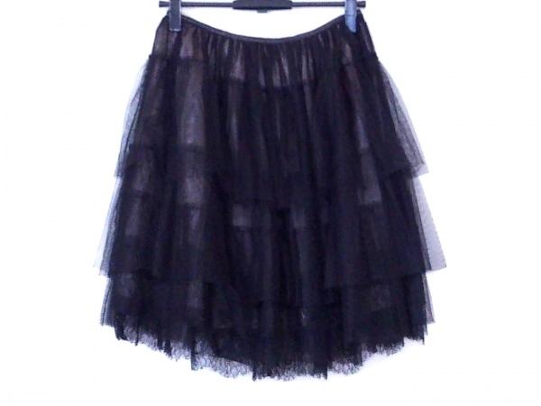 バレンチノ スカート サイズ42 L レディース 黒×アイボリー メッシュ