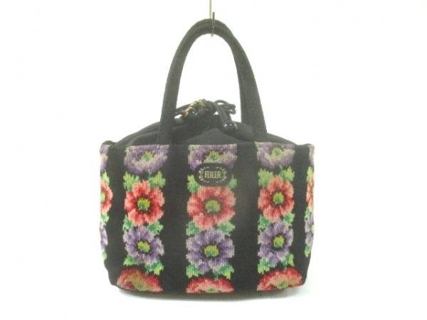 FEILER(フェイラー) トートバッグ 黒×ピンク×マルチ 花柄 パイル
