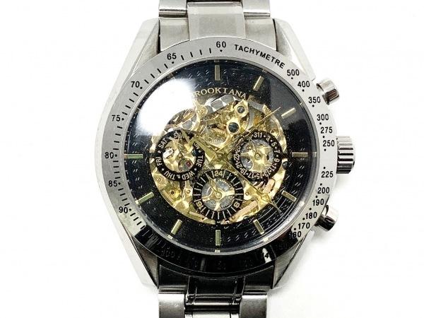 BROOKIANA(ブルッキアーナ) 腕時計 BA-1640 メンズ クロノグラフ/裏スケ ゴールド×黒
