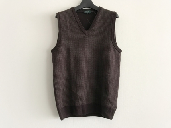 ザノーネ ノースリーブセーター サイズ46 XL メンズ美品  ダークブラウン×アイボリー