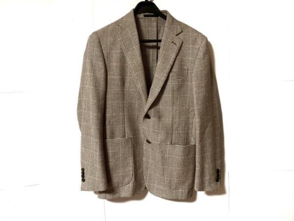 バーニーズ ジャケット サイズ46-03 メンズ美品  ダークブラウン×アイボリー×レッド