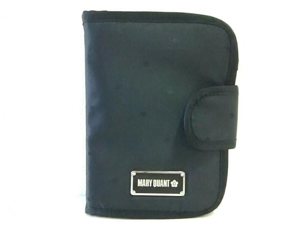 MARY QUANT(マリークワント) ポーチ 黒 手帳型/ドット柄 ナイロンジャガード