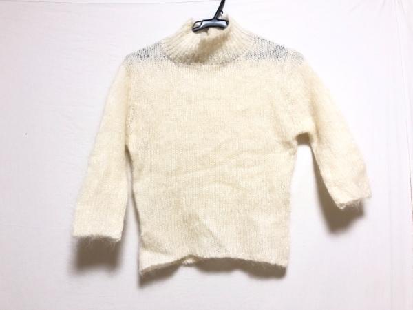 ロイスクレヨン 七分袖セーター サイズM レディース アイボリー ハイネック