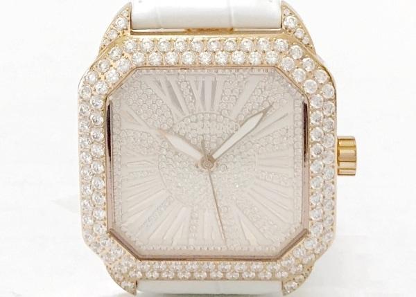 フェイスアワード 腕時計美品  - レディース ラインストーン/革ベルト/型押し加工