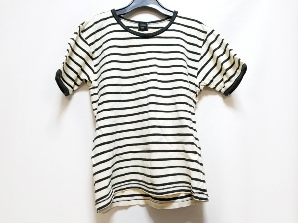 ゴルチエオム 半袖Tシャツ サイズL メンズ 白×ダークネイビー ボーダー