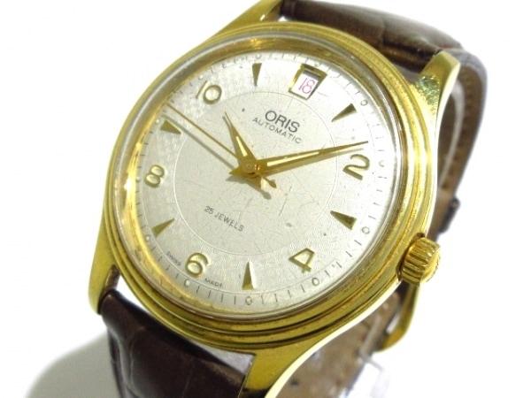 ORIS(オリス) 腕時計 7445 ボーイズ 革ベルト/裏スケ アイボリー