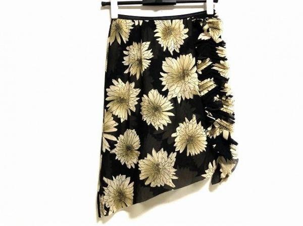 シズカコムロ ミニスカート サイズ40 M レディース新品同様  黒×ベージュ