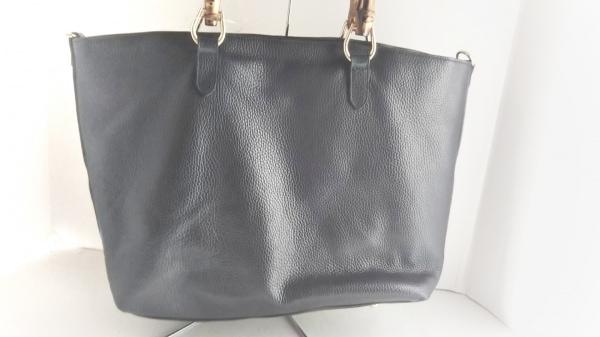 GIANNI NOTARO(ジャンニノターロ) トートバッグ美品  黒×ブラウン レザー×バンブー