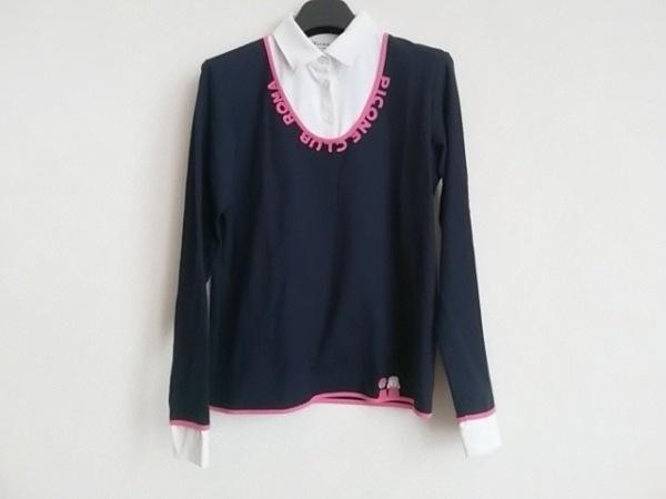 ピッコーネ 長袖ポロシャツ サイズ1 S レディース ネイビー×アイボリー×ピンク