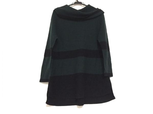 トゥービーシック 七分袖セーター サイズ40 M レディース ダークグリーン×黒