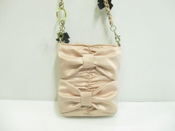 トゥービーシック ショルダーバッグ ピンク×黒×ゴールド リボン 化学繊維×金属素材