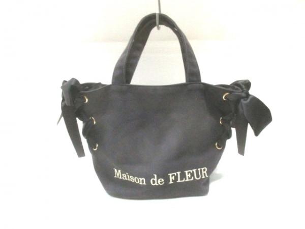 Maison de FLEUR(メゾンドフルール) トートバッグ 黒 リボン キャンバス