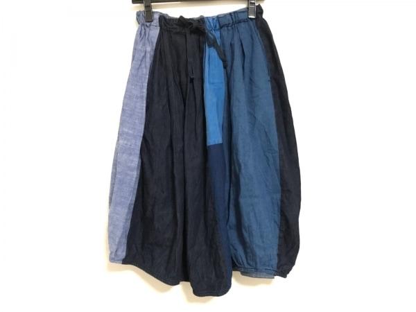 ティグルブロカンテ ロングスカート レディース美品  ブルー×ライトブルー×ネイビー