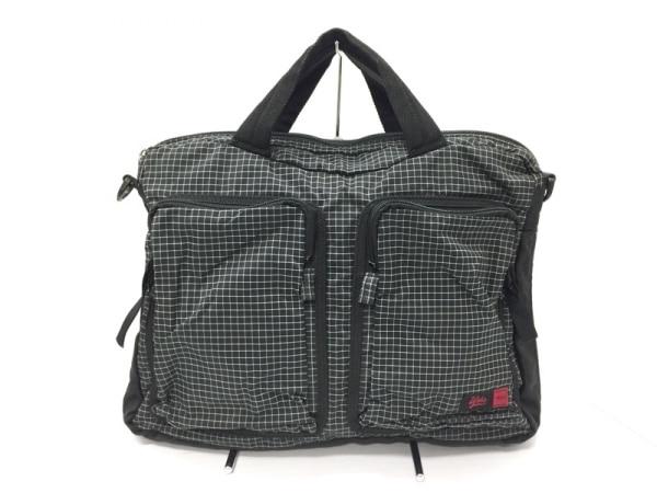 Upla(ウプラ) ハンドバッグ美品  黒×白 チェック柄 ナイロン