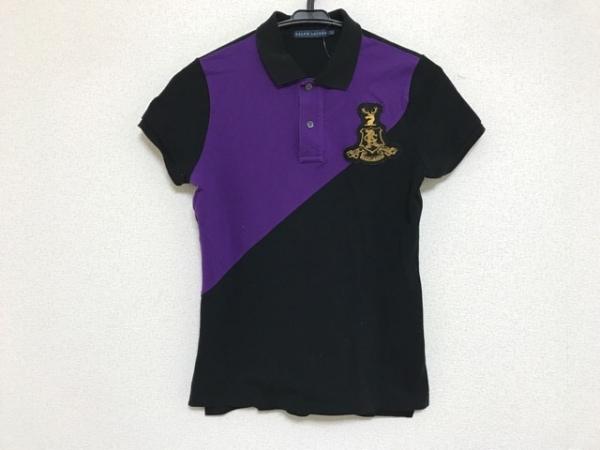 RalphLauren(ラルフローレン) 半袖ポロシャツ サイズL レディース パープル×黒